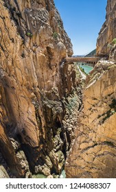 Path along steep cliffs, rocks and mountain river in Spain