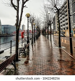 A path along the water in the rain.