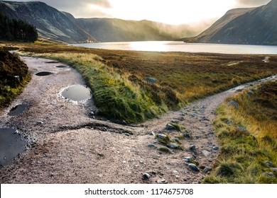 Path around Loch Muick, Cairngorm Mountains in Royal Deeside. Aberdeenshire, Scotland, UK.
