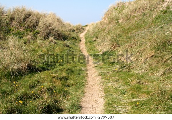 A path to the beach in Perranporth, Cornwall, UK.
