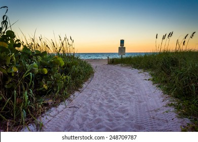 Path to the beach at sunset at Singer Island, Florida.