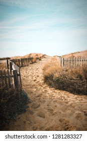Path to the beach through the dunes surrounded by a wood fence