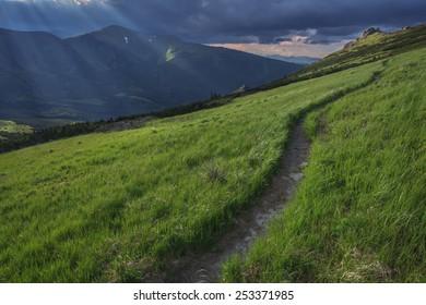 path in beautiful high mountain
