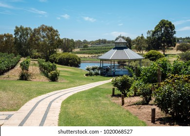 Path to beautiful view at rotunda of winery. Popular for wedding and corporate functions. Daily wine tasting tours.