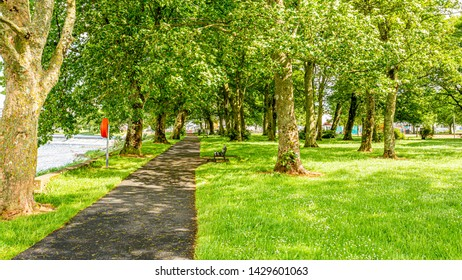 Path with benches next door in a park next to a river in the village of Athlone, wonderful sunny spring day in the county of Westmeath, Ireland