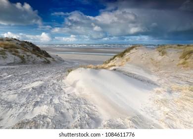 path between dunes to North sea beach, Netherlands