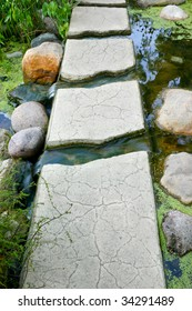 Path or bridge of stepping stones over a creek