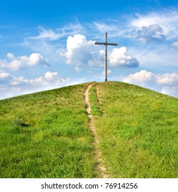 path to cross on hill