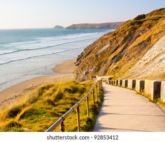 Path down to the beach at Penhale Sands near Perranporth Cornwall England UK