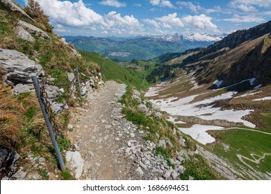 The path down from Fronalpstock in Switzerland.