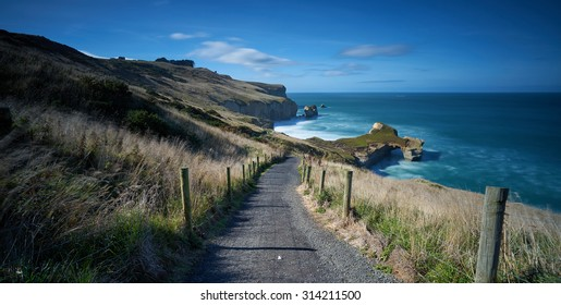 The path down to Tunnel Beach, located in Dunedin, South Island, New Zealand
