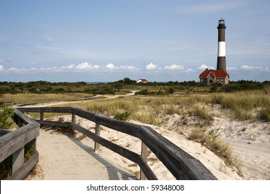 Path to the famous Fire Island Lighthouse located on Fire Island National Seashore, Long Island, New York