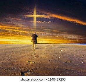 Path going to christian cross . Christian cross against the sky . Walk to the cross . way to new life