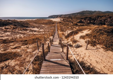 Path to Guincho Beach in Portugal made on sand dunes
