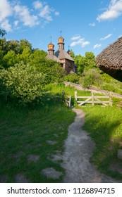 path to the hill to a wooden antique baroque church. Uzhhorod Ukraine