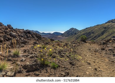 Path inside the Haleakala volcano crater