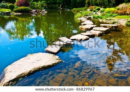 Path In Japanese Water Garden