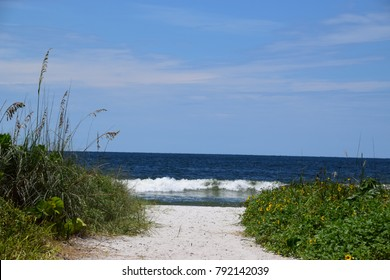 Path leading to a beautiful beach, summer season in Naples, Florida.