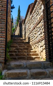 Path leading to St. Nino spring  in monastery of St. Nino at Bodbe. Sighnaghi, Kakheti, Georgia