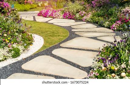 path leading through a garden