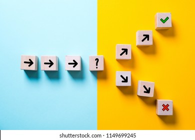 path leads to decision which changes the path in two directions