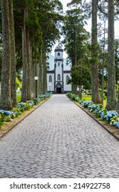 Path leads to Sete Cidades Church, Sao Miguel, Azores, Portugal, Europe
