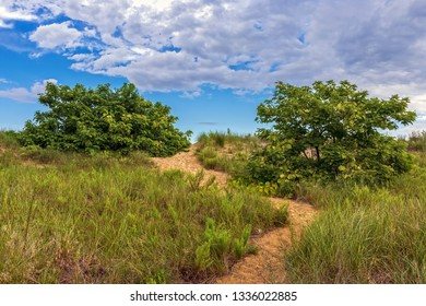 A path leads up ths sans dunes along the coast in Keansburg New Jersey.