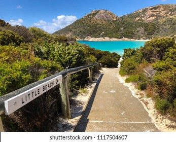 Path to Little Beach with white sand, beautiful sapphire blue shade of sea water, Mt Gardner at Two peoples Bay conservation reserve in Albany, Western Australia.