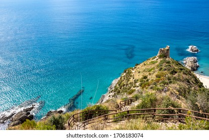 the path of lovers. (telegraph tip) Punta del Telegrafo on the Tyrrhenian coast of Ascea Marina. Cilento, Salerno, Campania, Italy