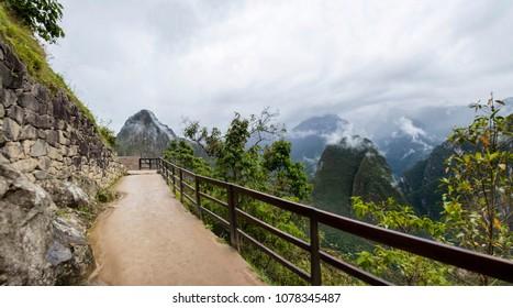 Path to the Machu Picchu Inca citadel in Peru