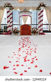 Path to the marriage. Hindu Temple setup is ready for religious wedding ceremony and waiting for guests and Hindu priest.