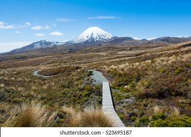 Path to Mount Ruapehu and Tama Lakes, Tongariro National Park, New Zealand