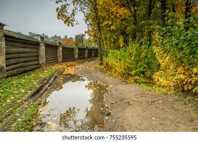 Path near the monastery in autumn
