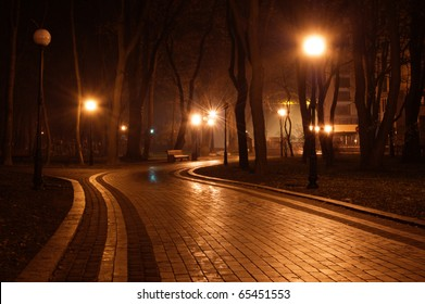 path in the night park