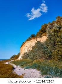 Path on the Baltic Sea cliff on the Baltic Sea beach.