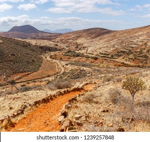 Path on Top of Volcanic Landscape in Fuerteventura, Canary Islands