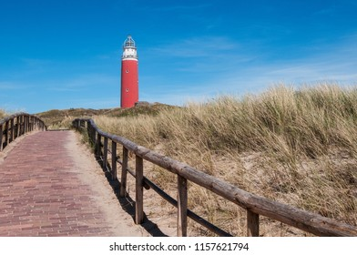 path over the dunes to the lighthouse in Texel - Holland Netherlands