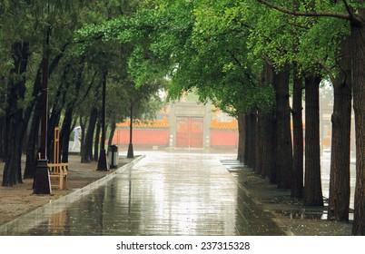 path in park of Beijing, China after rain