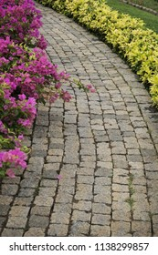 Path in park is paved with stone, it is laid through a flower garden