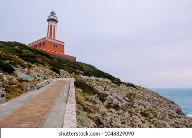 Path to The Punta Carena lighthouse at stormy weather, Capri, Italy.
