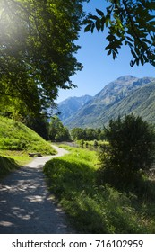 Path in Pyrenees mountains in the south of France