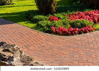 Path from red paving slab next to flowers in landscape design