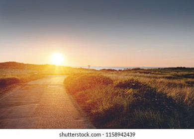 Path and road leading to the danish beaches in beautiful sunset sun light with green grass dunes. Danish Beach, Lønstrup in North Jutland in Denmark, Skagerrak, North Sea