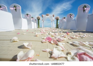path of rose petals in wedding on the beach (focus on petals)