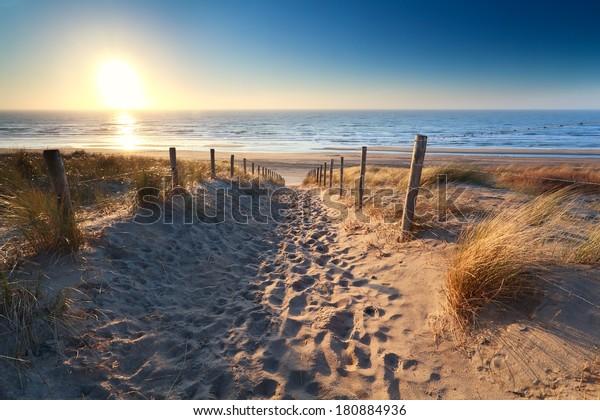 path to sand beach in North sea, Zandvoort aan zee, North Holland, NEtherlands