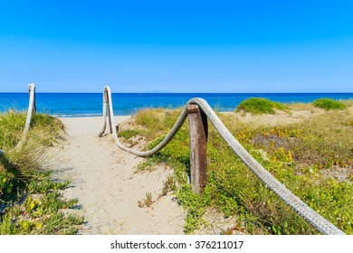 Path to sandy beach near Bastia town, Corsica island, France