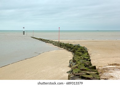 A path to the sea. Beach of Trouville (France). Like a destiny already traced.