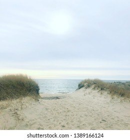 Path to South Beach on Martha's Vineyard on a winter afternoon