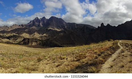 Path through dry-land into the shadowplay mountains  of Sao Antao island on Cape Verde