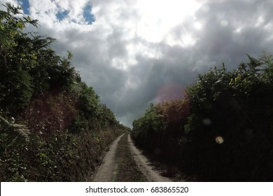 A path through farm and country fields near Looe in Cornwall, with hedgerows either side and heavy grey clouds above as the sun tries to break through
